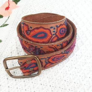 LUCKY BRAND Boho Leather Embroidered Belt M